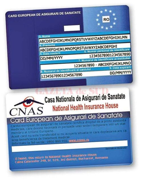 CNASreia producțiași distribuția cardurilor europene de sănătate