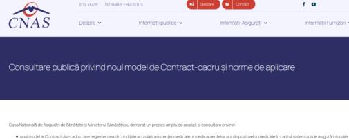 Consultări pentru elaborarea unui nou model de Contract-cadru: calendarul activităților